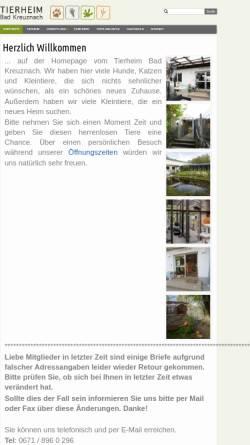 Vorschau der mobilen Webseite www.tierheim-bad-kreuznach.de, Tierheim Bad Kreuznach
