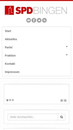 Vorschau der mobilen Webseite www.spd-bingen.de, SPD Bingen am Rhein