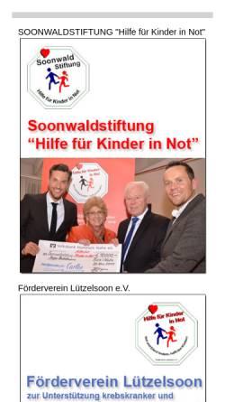 Vorschau der mobilen Webseite www.kinder-in-not-hilfe.de, Förderverein Lützelsoon zur Unterstützung krebskranker notleidender Kinder und deren Familien e.V.