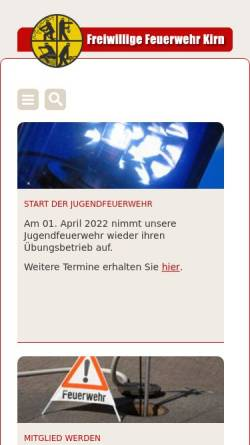 Vorschau der mobilen Webseite www.feuerwehr-kirn.de, Freiwillige Feuerwehr Stadt Kirn