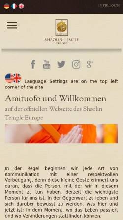 Vorschau der mobilen Webseite www.shaolintemple.eu, Shaolin Tempel Kaiserslautern