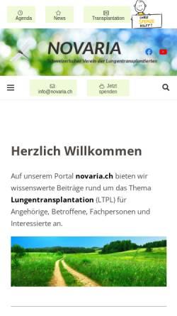 Vorschau der mobilen Webseite www.novaria.ch, Schweizerischer Verein der Lungentransplantierten