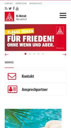 Vorschau der mobilen Webseite www.igmetall-neuwied.de, IG Metall Verwaltungsstelle Neuwied