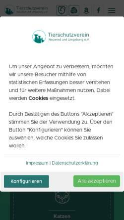 Vorschau der mobilen Webseite www.tierheim-neuwied.de, Tierschutzverein Neuwied und Umgebung e.V.