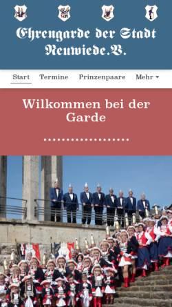 Vorschau der mobilen Webseite www.ehrengarde-neuwied.de, Ehrengarde der Stadt Neuwied e.V.