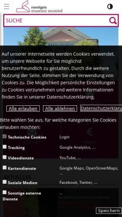 Vorschau der mobilen Webseite www.roentgen-museum-neuwied.de, Roentgen-Museum Neuwied (Kreismuseum Neuwied)