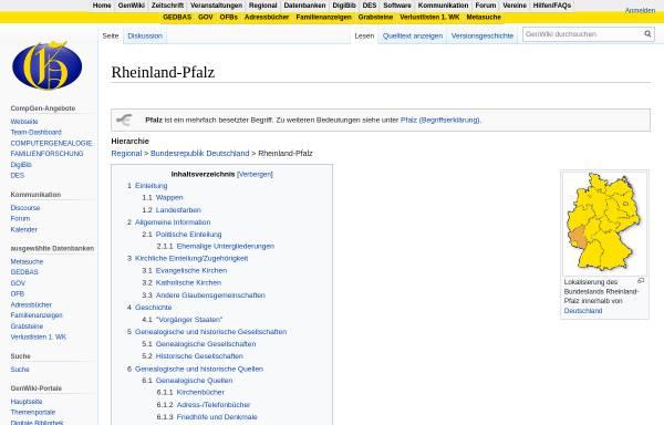 Vorschau von wiki-de.genealogy.net, Rheinland-Pfalz bei Genealogy.net