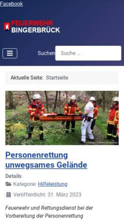 Vorschau der mobilen Webseite www.feuerwehr-bingerbrueck.de, Freiwillige Feuerwehr Bingen-Bingerbrück