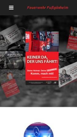 Vorschau der mobilen Webseite www.feuerwehr-fussgoenheim.de, Freiwillige Feuerwehr Fußgönheim