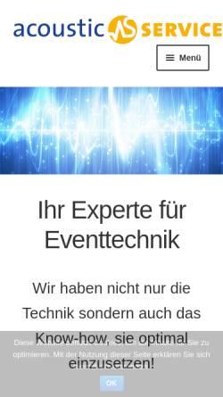 Vorschau der mobilen Webseite www.acoustic-service.de, Acoustic-Service GbR
