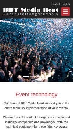 Vorschau der mobilen Webseite bbt-mediarent.de, BBT Media Rent e.K.