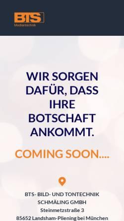 Vorschau der mobilen Webseite www.bts.de, BTS Bild- und Tontechnik Schmäling GmbH