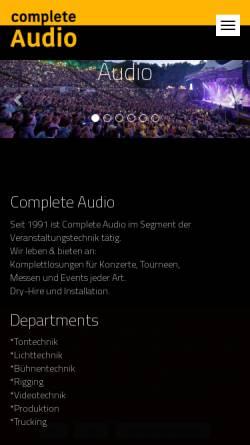 Vorschau der mobilen Webseite www.complete-audio.com, Complete Audio Veranstaltungstechnik, Inh. Andre Rauhut