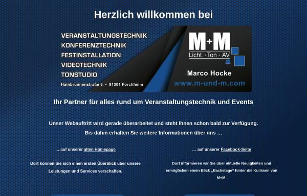 Vorschau von www.m-und-m.com, M+M - Licht Ton AV - M. Hocke und H. Hocke GbR