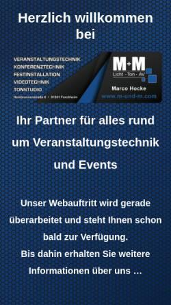 Vorschau der mobilen Webseite www.m-und-m.com, M+M - Licht Ton AV - M. Hocke und H. Hocke GbR