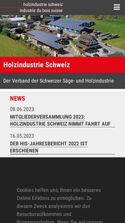 Vorschau der mobilen Webseite www.holz-bois.ch, Schweizerischer Sägerei- und Holzindustrie-Verband