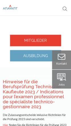 Vorschau der mobilen Webseite www.anavant.ch, Schweizerischer Verband Technischer Kaderleute