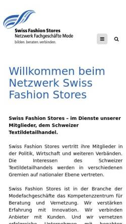 Vorschau der mobilen Webseite www.swiss-fashion-stores.ch, Swiss Fashion Stores