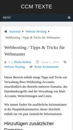 Vorschau der mobilen Webseite www.ccmtexte.de, CCM Rezis