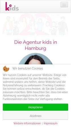 Vorschau der mobilen Webseite agenturkids.de, Agentur KIDS