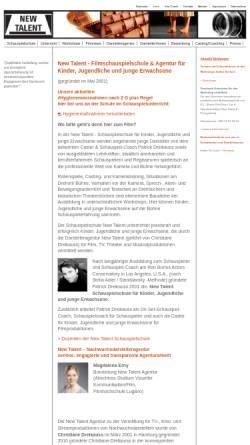 Vorschau der mobilen Webseite www.newtalentschauspielschule.net, New Talent Schauspielschule & Agentur für Kinder und Jugendliche