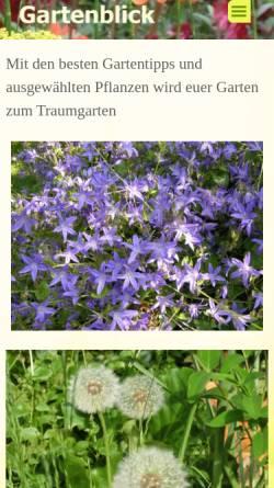 Vorschau der mobilen Webseite gartenblick.de, Gartenblick von Josefine Treczka