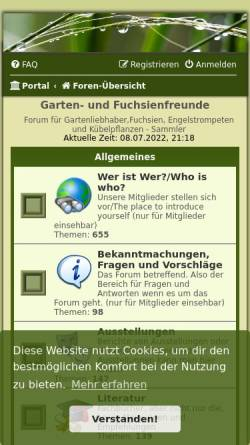 Vorschau der mobilen Webseite www.fuchsienfreunde.de, Fuchsienfreunde