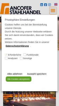 Vorschau der mobilen Webseite www.ancofer.de, Ancofer Stahlhandel GmbH