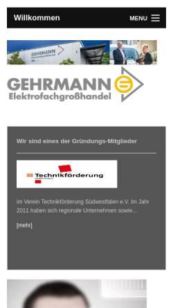 Vorschau der mobilen Webseite www.gehrmann-online.de, Gehrmann GmbH & Co. KG Elektrofachgroßhandel