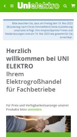 Vorschau der mobilen Webseite www.unielektro.de, Ströbelt GmbH & Co. KG Elektrogroßhandel