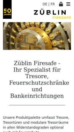 Vorschau der mobilen Webseite www.zueblin-firesafe.ch, Züblin Firesafe AG