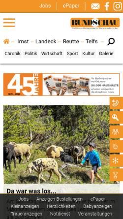 Vorschau der mobilen Webseite www.rundschau.at, Rundschau - Oberländer Wochenzeitung