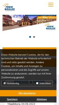 Vorschau der mobilen Webseite www.freie-waehler-lsa.de, Freie Wähler Sachsen-Anhalt