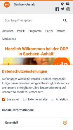 Vorschau der mobilen Webseite www.oedp-sachsen-anhalt.de, ÖDP Sachsen-Anhalt