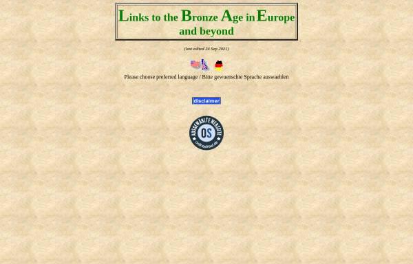 Vorschau von www.bronzeage.de, Bronzezeit in Europa