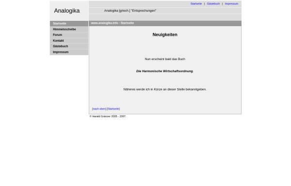Vorschau von www.analogika.info, Gruß aus der Vergangenheit oder: Das Goldene Tor der Ekliptik