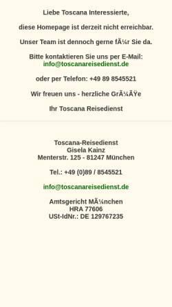 Vorschau der mobilen Webseite toscanareisedienst.de, Toscana-Reisedienst Gisela Kainz