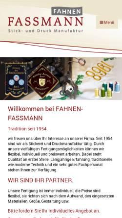 Vorschau der mobilen Webseite www.fahnen-fassmann.de, Fahnen Fassmann