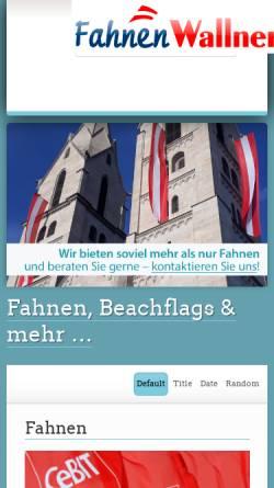 Vorschau der mobilen Webseite www.fahnen-wallner.at, Fahnen Wallner