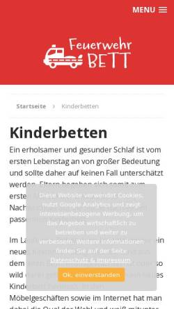 Vorschau der mobilen Webseite www.meinkinderbett.de, Meinkinderbett.de, Paul Harris und Renate Messall