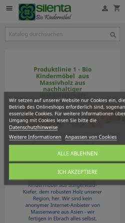 Vorschau der mobilen Webseite www.silenta-shop.de, Silenta Produktions-GmbH