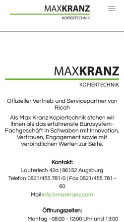 Vorschau der mobilen Webseite www.kranz.de, Max Kranz