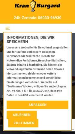 Vorschau der mobilen Webseite www.kran-burgard.de, Kran-Burgard GmbH