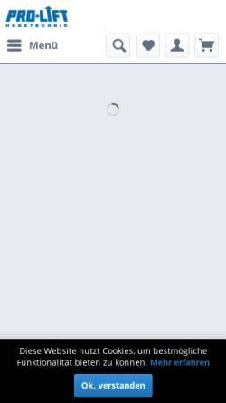 Vorschau der mobilen Webseite www.prolift-hebetechnik.de, Pro-Lift GmbH