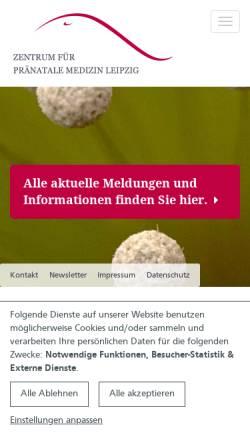 Vorschau der mobilen Webseite www.praenatalmedizin-leipzig.de, Zentrum für Pränatale Medizin Leipzig