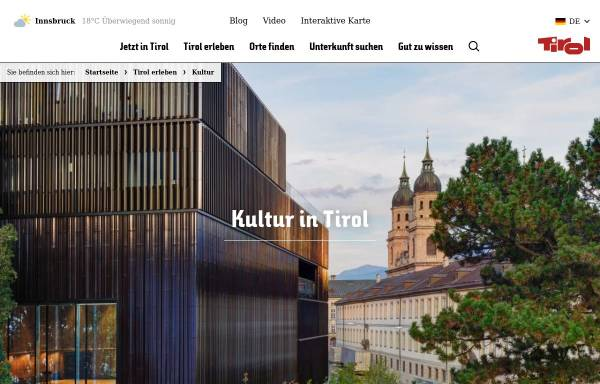 Vorschau von www.kultur.tirol.at, Kunst und Kultur in Tirol