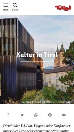 Vorschau der mobilen Webseite www.kultur.tirol.at, Kunst und Kultur in Tirol