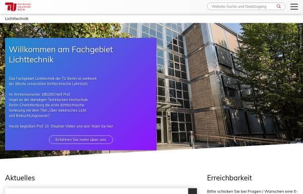 Vorschau von www.li.tu-berlin.de, Institut für Lichttechnik, TU Berlin