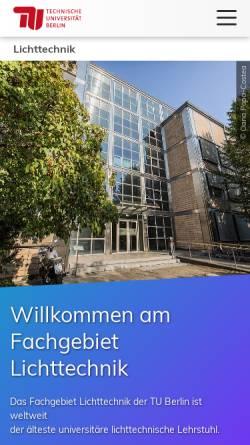Vorschau der mobilen Webseite www.li.tu-berlin.de, Institut für Lichttechnik, TU Berlin