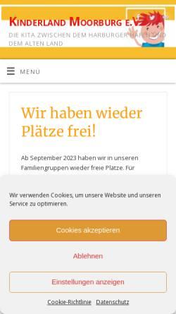 Vorschau der mobilen Webseite www.kinderland-moorburg.de, Kinderland Moorburg e.V.